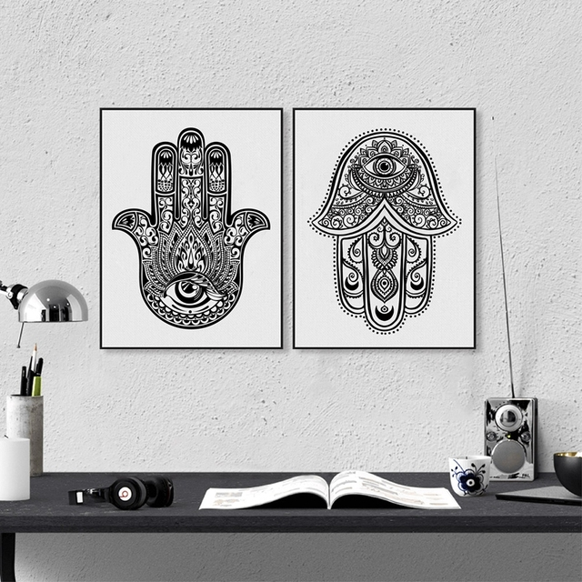 Hand Drawn Ornate Amulet Hamsa Fatima Art Print Wall Picture Canvas Painting Poster Arab Home