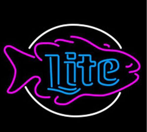 Custom Miller Lite Fish Glass Neon Light Sign Beer Bar