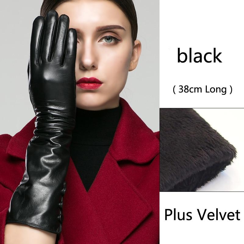 Longs gants en peau de mouton gants en cuir femme longueur gants mode Style velours doublure plus chaude gants de conduite en plein air pour les femmes
