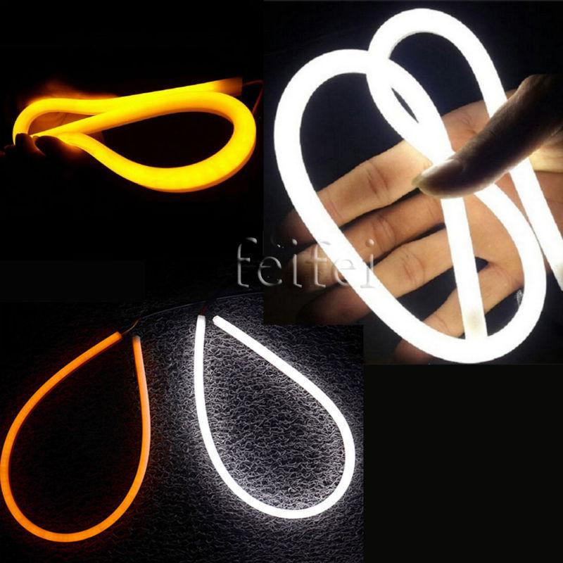 цена на 2X 30cm Daytime Running Light Universial Flexible Soft Tube Guide Car LED Strip White DRL Yellow Turn Light