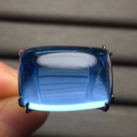 Fine Jewelry Customize Size Real 18K Rose Gold AU750 Jewellery 100% Natural Blue Topaz Gemstone male Rings for man Fine Ring