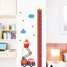Animal Fire Rescue Car Height Measure Wall Stickers Kids Room Growth Chart Home Door Decor Living Room PVC Mural Wall Art Decals animal height chart wall stickers diy kid room decor