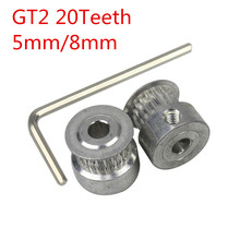 Free Shipping GT2 20teeth 20 teeth Timing Alumium Pulley Bore 5mm/8mm fit for GT2-6mm Open Timing Belt(China)