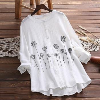 07f26caba6bc Chemisier Femme para Mujer Tops de moda de otoño de 2019 de lino blanco  bordado camisa de las mujeres Blusa de manga larga ropa de mujer Plus tamaño