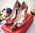 2016 Autumn Women Floral Pumps Office Lady Shoes Pointed Toe Thin High Heel Women Wedding Pumps Dress Shoes Flower Shoes