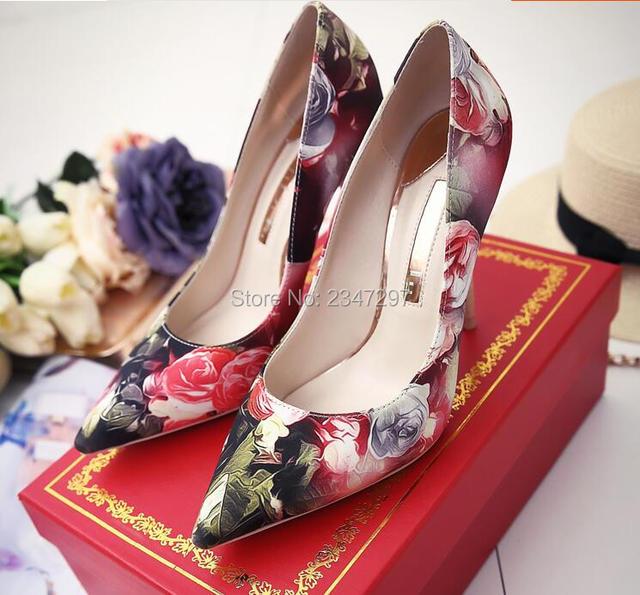 e5d94477160c 2016 Autumn Women Floral Pumps Office Lady Shoes Pointed Toe Thin High Heel  Women Wedding Pumps Dress Shoes Flower Shoes