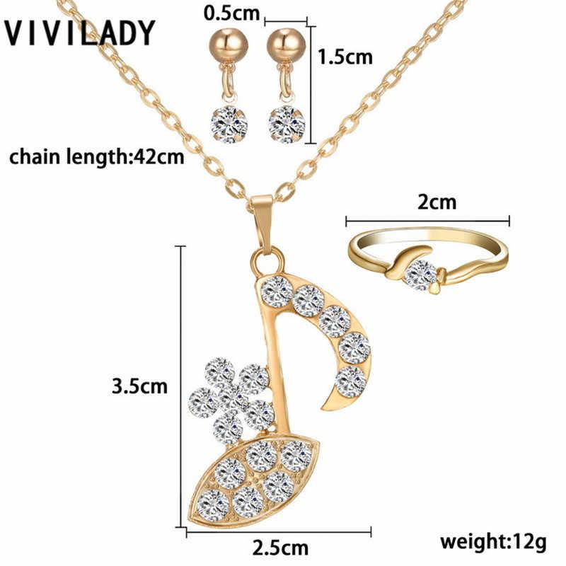 VIVILADY אופנה אפריקאית 3 Pieces מוסיקה קריסטל סגסוגת ערכות תכשיטי תליון טבעת שרשרת ארוכה עגילי נשים כלה מתנה לחתונה