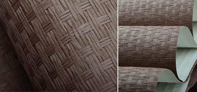Brown Purple Paper Weave Natural Textures Wallpaper For Restaurant Dinning Room Decoration Hotel Wall 5