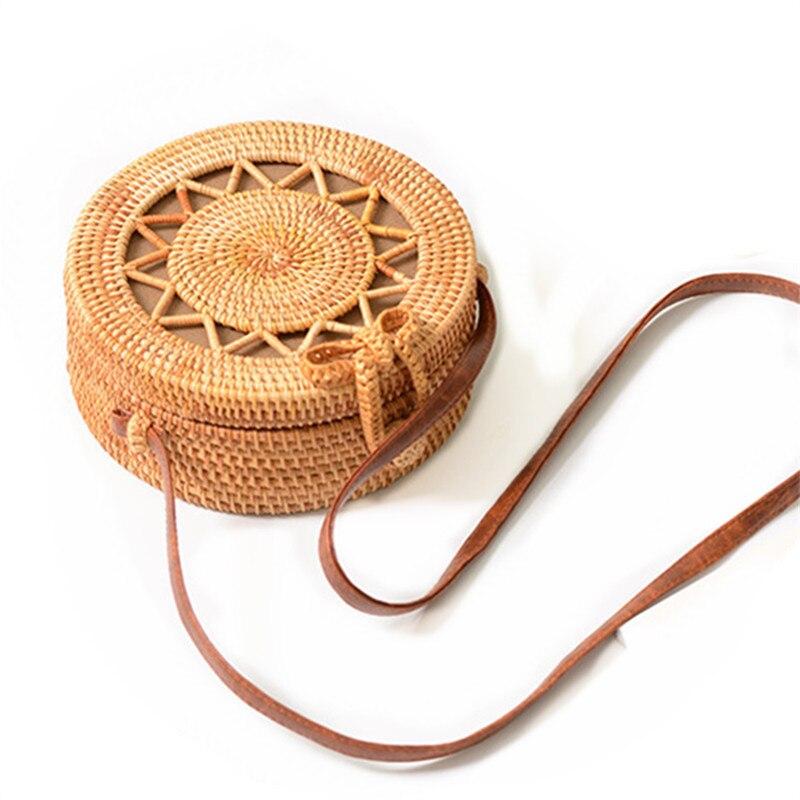 2018 New Round Straw Bag Handbags Women Summer Rattan Bag Handmade Woven Beach Handbag For Women Bag