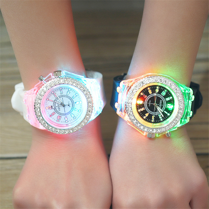 School Boy Girl  Watches Electronic Colorful Light Source Sister Brother Birthday Kids Gift Clock Fashion Children's Wrist Watch