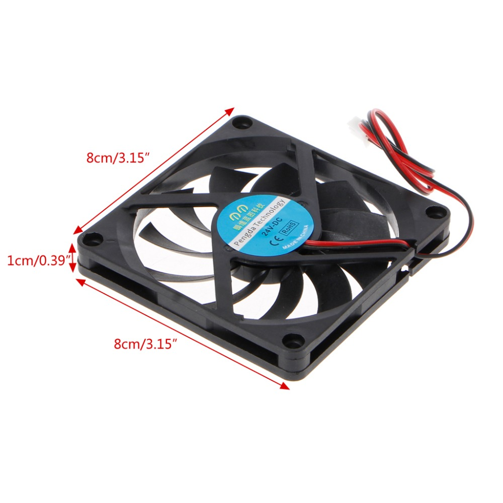 24V 2-Pin 80x80x10mm PC Computer CPU System Heatsink Brushless Cooling Fan 8010