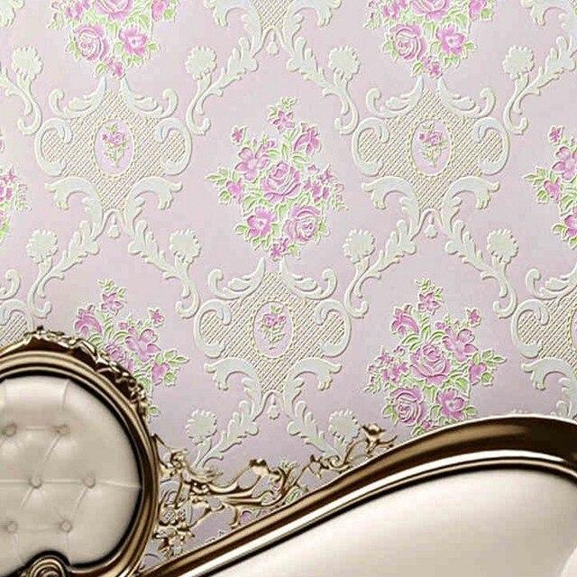 Freies Verschiffen Europäischen Stil Garten Blumen Vlies Relief Schlafzimmer  Hochzeitszimmer Tapete Romantische Rosa Lila Tapete