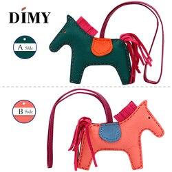 ¡Novedad! Bolso de piel auténtica para mujer con diseño de caballo de Rodeo Pony, bolso con encanto Bicolor de 2 lados PM 13x10, Bolso Barato