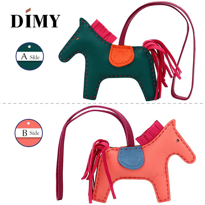 Latest fashion Genuine Leather Rodeo Pony Charm for women's Bag New Horse bag charm 2-side Bicolor PM 13*10 cheap purse charm