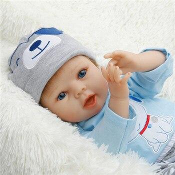 SanyDoll Silicone bebê renascer bonecas, lifelike boneca reborn bebês para brinquedos das Crianças 22 polegada 55 cm A roupa azul boneca