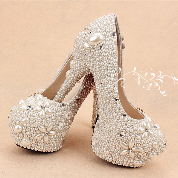 Free Shipping Crystal Party Ceremony Imitation High Heel Pearl