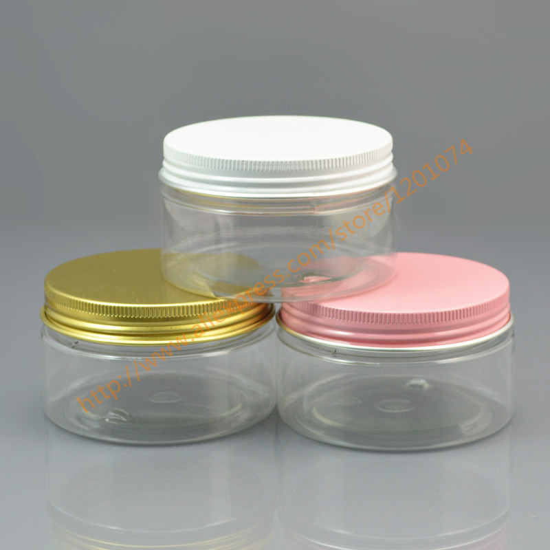 Contenedor vacío de 100 ml para estilizar Gel cera para el cabello 100g tarro de crema transparente PET embalaje con rosa/blanco /tapa de aluminio dorado, base delgadas-in Botellas rellenables from Belleza y salud    1