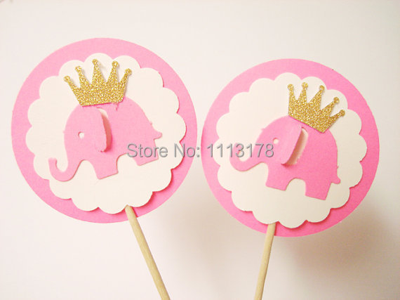 Elephant with Gold Glitter Crown Party Picks Cupcake Toppers