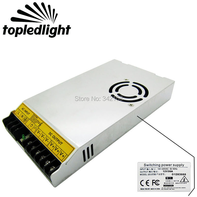 где купить CE FCC DC12V 30A 360W Aluminum Switching Power Supply Converter LED Driver Input 100-240V Led Driver Lighting Accessories дешево