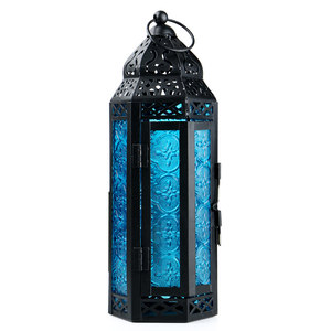Image 2 - Exotische Delight Marokkaanse Glas Metalen Lantaarn Tuin Kaarshouder Tafel/Opknoping Lantaarn Feesten En Bruiloften Paars Kandelaar