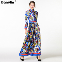 Banulin New 2018 Runway Maxi Dress Womens Turn Down Collar Long Sleeve Elegant Flower Print Blue Vintage Party
