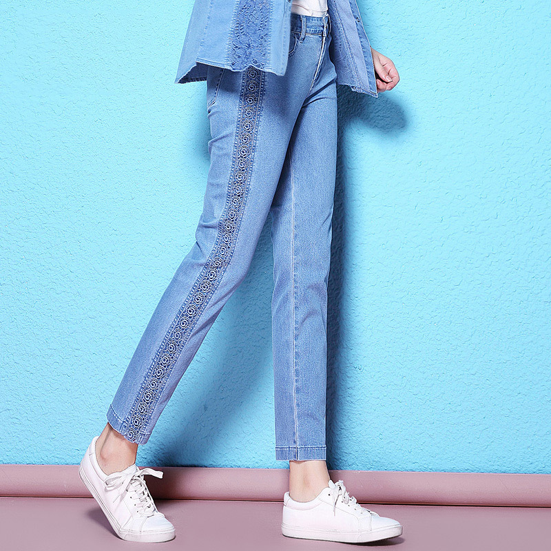 Summer and autumn stylish lace elastic denim jeans ankle length embroidery hollow out breathable thin jeans