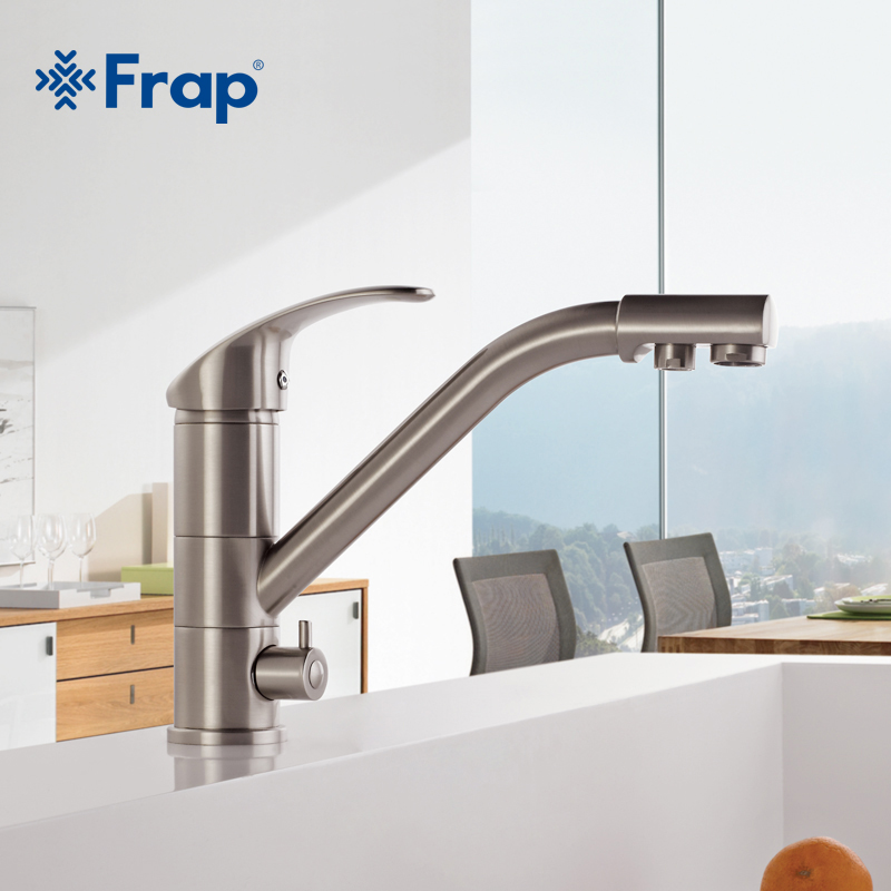 High end Brass Body Nickel Brushed Kitchen faucet sink Mixer tap 360 degree rotation with Water