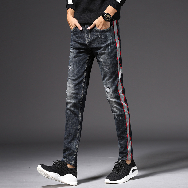 2018 new mens color matching cotton feet stretch denim jeans hole in cultivate ones morality pants