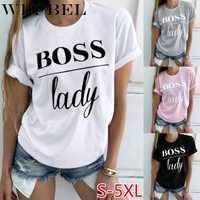 WEPBEL, летняя мода, женская Повседневная футболка с надписью Boss, топы, женские футболки с принтом, топы с коротким рукавом