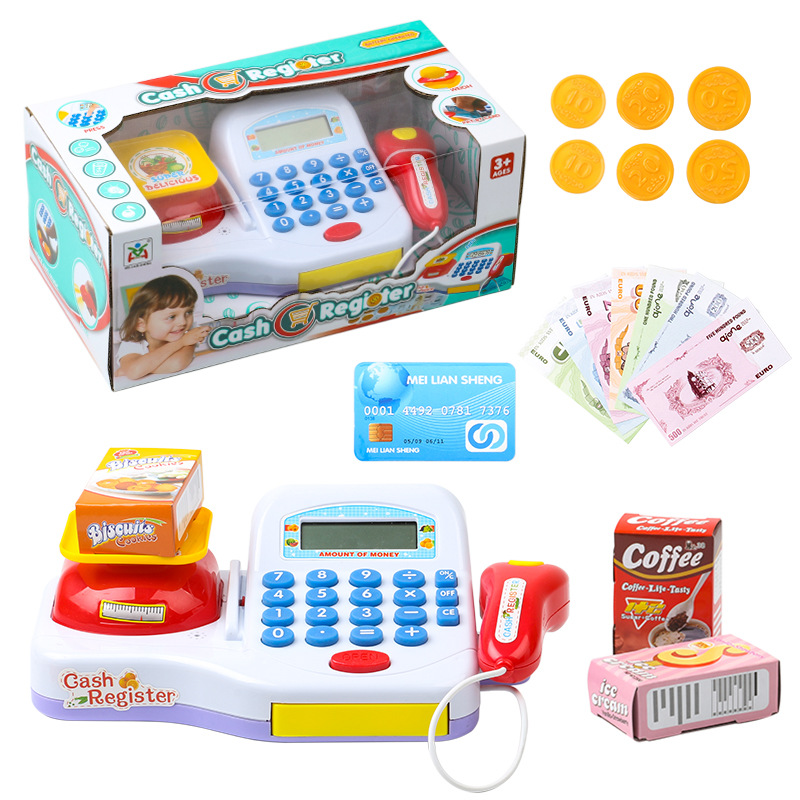 Supermarket Cash Register For Kids Simulation Cash Machine Toys With Calculator and Scan ...