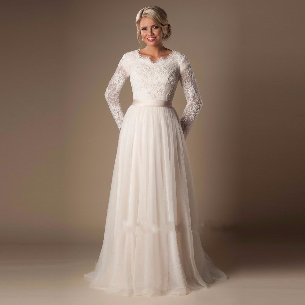 Ivory Chagne Modest Wedding Dresses 2019 With Long Sleeves Aline Beaded Lace Tulle Elegant Outdoor Bridal Gowns Informal: Very Modest Wedding Dress At Websimilar.org