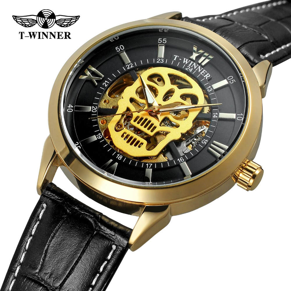 New Fashion 3D Pirate Skull Dial Watches Men's Luxury Brand Casual Style Automatic Watches Skeleton Wristwatch Gold Clock Male mens watch top luxury brand fashion hollow clock male casual sport wristwatch men pirate skull style quartz watch reloj homber