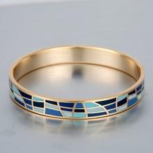 Enamel Bangle Famous Brand Jewelry Vintage Love Bracelet Pulseiras Bracelets Stainless Steel Gold Plated Bangles 10mm Wide