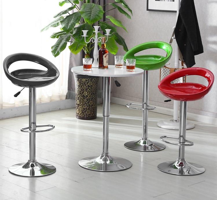 New 2pcs Leisure Swivel Bar Stools Adjustable Gas Lift Chairs ABS Seat Moon Shaped Bar Chairs Taburete Bar Home Furniture HWC