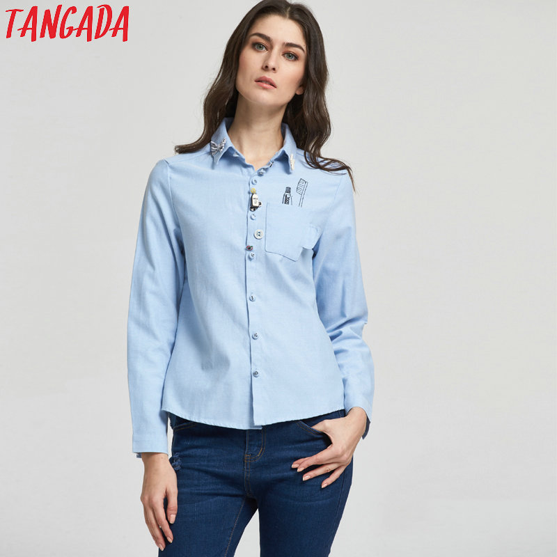 6282c7ce97ed6c Detail Feedback Questions about Tangada Women Fashion Elegant School Style  Toothbrush Print Pocket Button Turn down Collar Blouse Bow Shirt Casual  Female ...