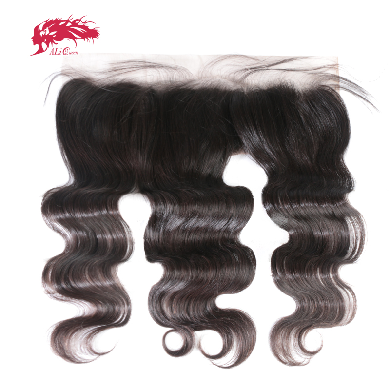 Ali Queen Ear to Ear Lace Frontal Closure 13X4 with Baby Hair Pre Plucked Brazilian Body Wave Human Hair Free Part Virgin Hair