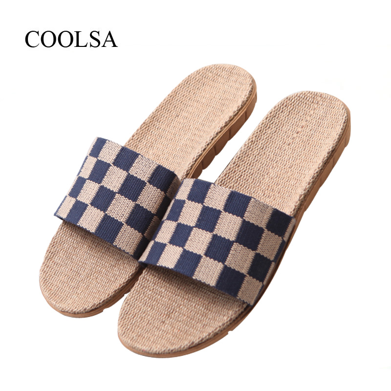 COOLSA Men's Summer Checkered Flat Canvas Flax Slippers Non-slip Beach Flip Flops Men's Breathable Linen Slippers Home Slippers coolsa women s summer flat non slip linen slippers indoor breathable flip flops women s brand stripe flax slippers women slides