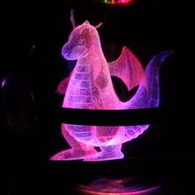K9 Стекло GO Pocket Monster Pokemon Dragonite 3D LED Night Light Стол Настольные Лампы