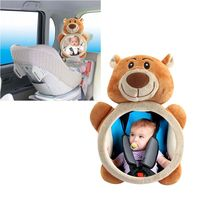 Baby Rear Facing Mirrors Safety Car Back Seat Easy View Mirror Adjustable Cute Brown bear Infant Monitor for Kids Toddler Child