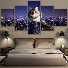 Kunst aan de muur modulaire schilderijen 5 stuks schattige kleine katten dier nacht landschap canvas schilderij aan de muur foto's voor de woonkamer