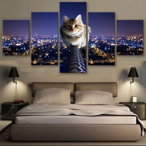 Wall Art Modular Paintings 5 Pieces Cute Little Cats Animal Night Landscape Canvas Painting On The Wall Pictures For Living Room