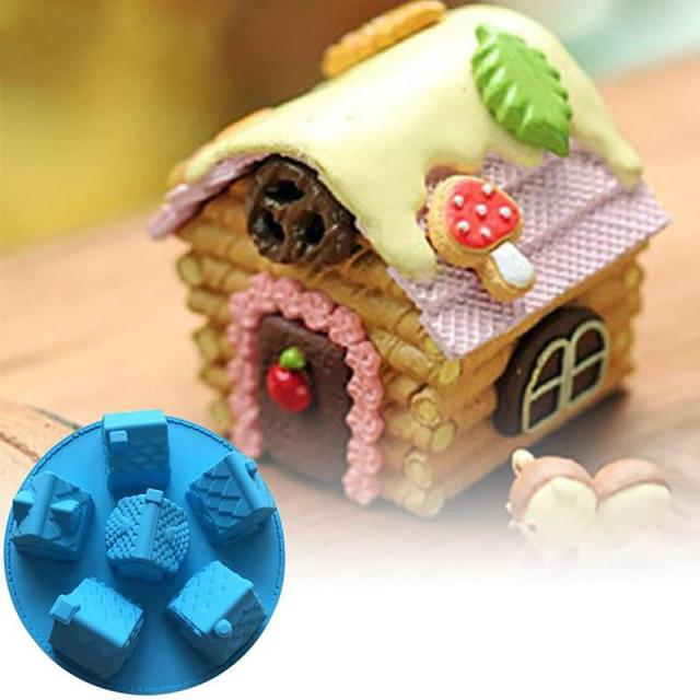 1 pc small house cake mold silicone christmas 6 house chiffon cake mold diy fondant different