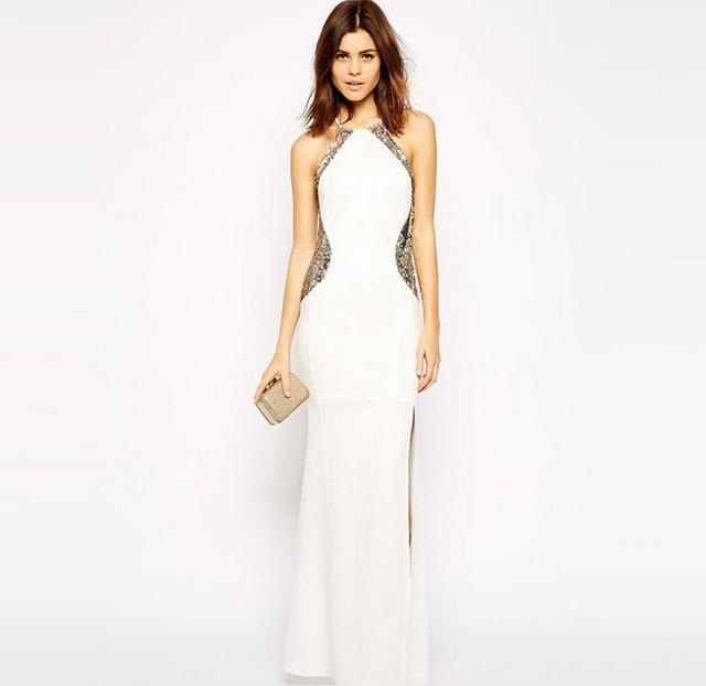 58cde5f20 Hot branco das senhoras vestido longo de festa à noite elegante loja online  de roupas mulheres