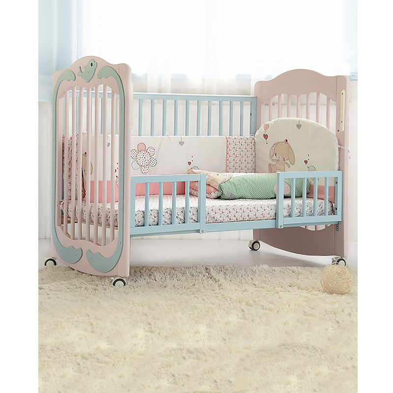 New Zealand Pine Crib Multi-function Solid Wood Splicing Big Bed Baby Cradle Bed Roller Detachable Change Bed Baby Crib