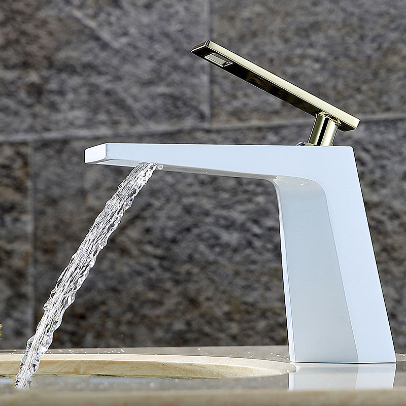 DHL Chrome Finished Solid Brass Bathroom Baisn Sink Faucet Single Handle Mixer Waterfall Tap Deck Mounted 5 Color Choose KF929 chrome finished bathroom sink tub faucet single handle waterfall spout mixer tap solid brass page 1