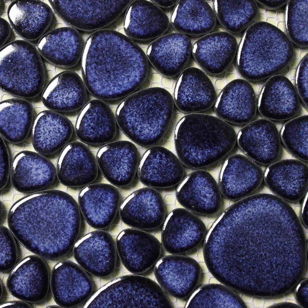 navy blue porcelain tile pebble mosaic kitchen backsplash wall paper ...