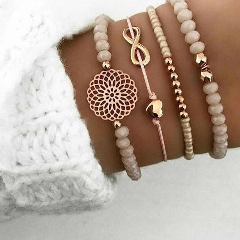 Tocona Retro Boho Gold Color Beadeds Hollow Flower Heart Bow Bracelet Set For Women Sweet Adjustable Bracelet Bangle Jewelry4019(China)