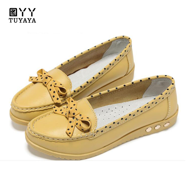 Women Flats Soft Genuine Leather Shoes Bowknot Polka Dots Women Loafers Nurse Shoes Moccasins Shallow Casual Mother Shoes