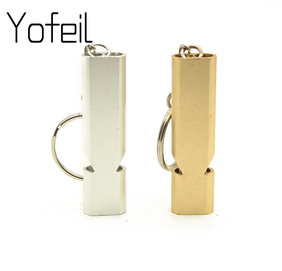 Outdoor Camping Hiking Double-Frequency Emergency Survival  Aerial Aluminum Alloy Whistle Keychain Accessory Sport Team Gift