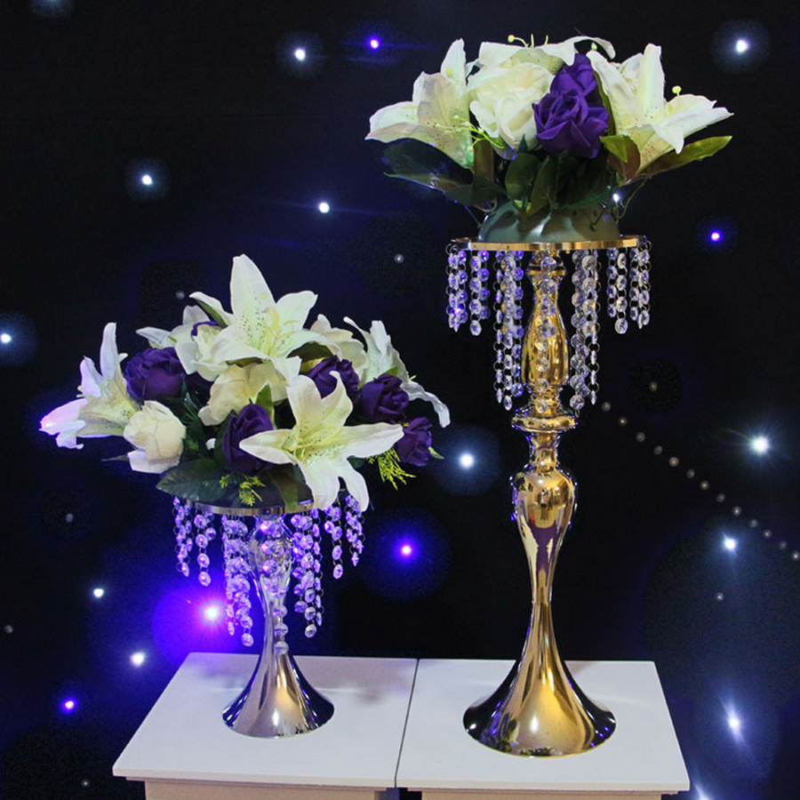 Gold Metal Centerpiece Stands : Custom size gold metal candle holder with crystal bead